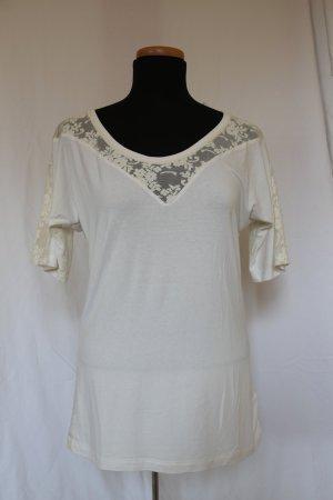 weißes Kurzarm-Shirt mit Spitze