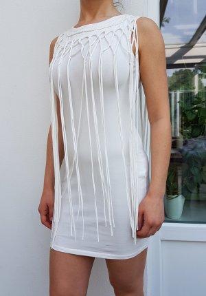 Weißes kurzes Kleid mit Fransen Stickerei Etuikleid Sommerkleid Strandkleid