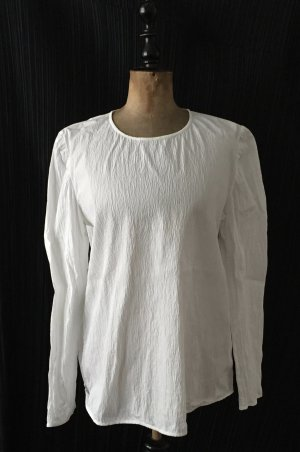 weißes langärmeliges  gekrinkeltes Oberteil / Bluse