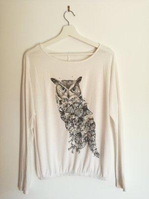 Weißes Langarm Shirt im Schmetterlingsstil + Print
