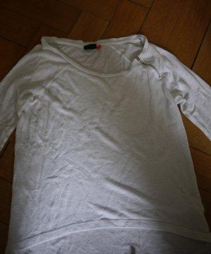 Weißes Langarmshirt mit Zipperdetail