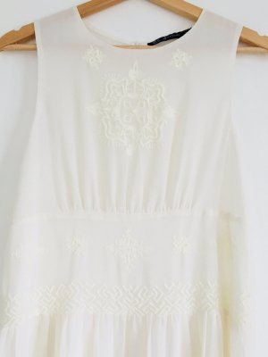 ** weißes langes Kleid Maxi Bohostil Stickerei Hippie **