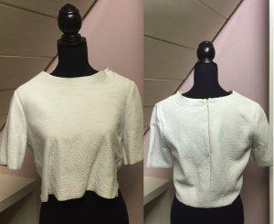 Weißes Lederimitat T-Shirt von Zara