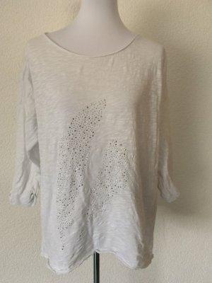 weißes leicht durchsichtiges Shirt von S. Oliver mit Pailletten - Gr. 42