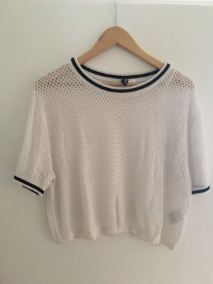 H&M Crochet Shirt white-black