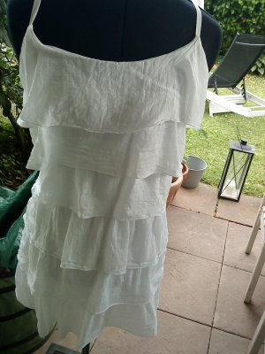 weißes Longtop mit Vollants aus Seide made in italy Größe L