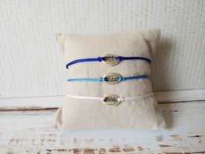 weißes Makramee Armband mit silberner Muschel Kaffebohne NEU und größenverstellbar!
