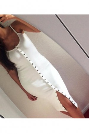 Missguided Midi Dress white-silver-colored