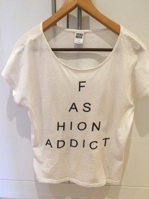 """weißes Over-Size Shirt mit Aufdruck """"FASHION ADDICT"""""""