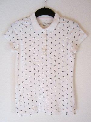 Weißes Poloshirt mit Anker-Allover-Print