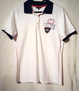 Weißes Poloshirt mit dunkelblauem Kragen