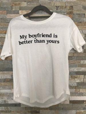 Bershka Shirt met print wolwit-wit