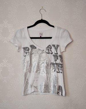 Weißes Printshirt von Only / V-Ausschnitt