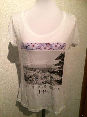 weißes Review Shirt mit Print - Gr. M