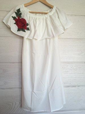 Weißes schulterfreies Kleid