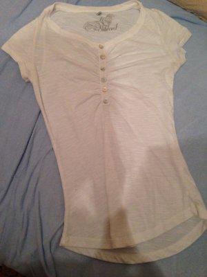weißes sehr gut sitzendes Orsay-Shirt mit Knopfleiste