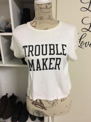 Brandy & Melville T-shirt court blanc-noir