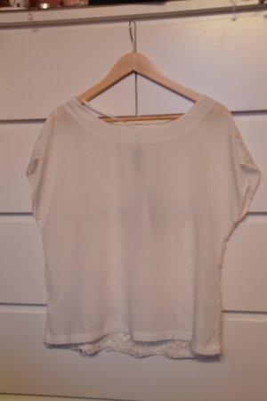 """weißes Shirt aus feinem """"Blusenstoff"""" mit Rücken aus Spitze"""