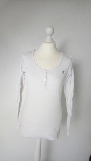 Weißes Shirt langärmlig von Tommy Hilfiger, ripped, gerippt