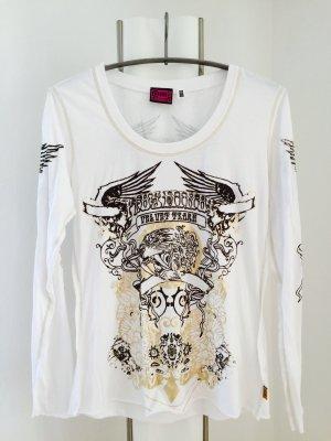 Weißes Shirt Langarm mit goldenem und braunem Aufdruck