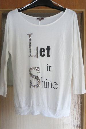 weisses Shirt mit Aufdruck und Pailetten