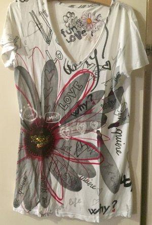 Weißes Shirt mit Blume