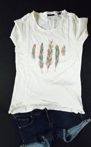 Weißes Shirt mit Feder bedruckt