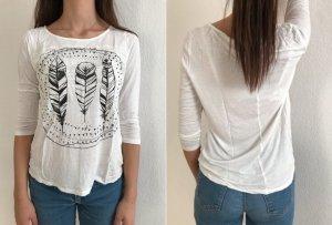 Weißes Shirt mit Federn und Spitze von Vero Moda