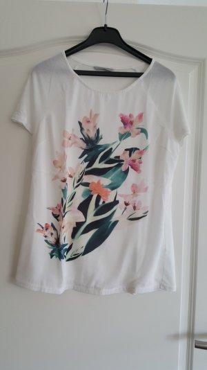 Weißes Shirt mit floralem Print