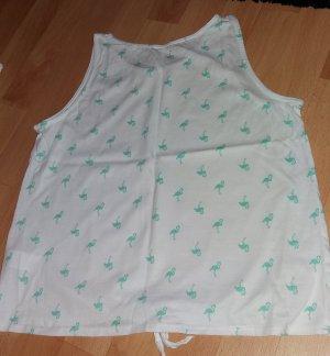 Weisses Shirt mit kleinen Flamingos und Knoten am Bauch, Gr. 34