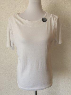 weißes Shirt mit Knopf am Kragen von Yorn - Gr. 40, wenig getragen