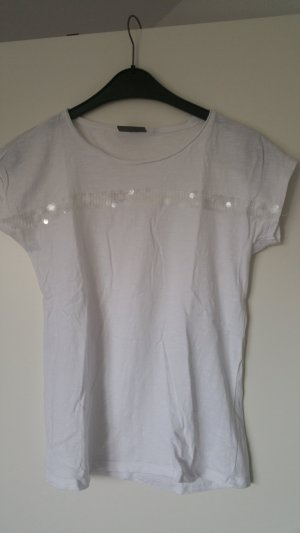 Weißes Shirt mit Pailetten Größe S