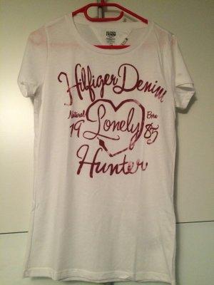 Weißes Shirt mit pinker Schrift