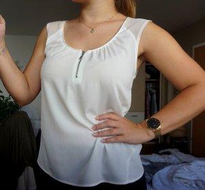 weißes Shirt mit Reißverschluss