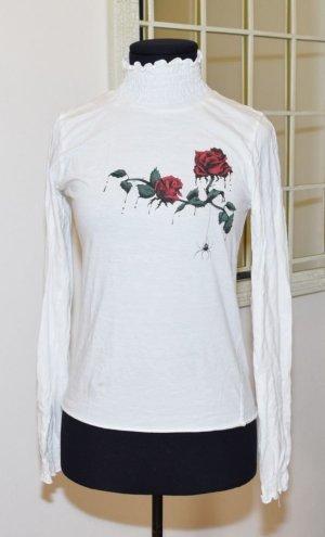 Turtleneck Shirt white-dark red cotton