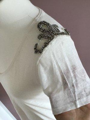 Zara Camisa tejida blanco puro-color plata