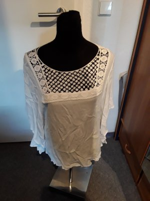 weißes Shirt - Strickmuster - Hippie - tolle Rückenoptik - Colloseum - Gr. L