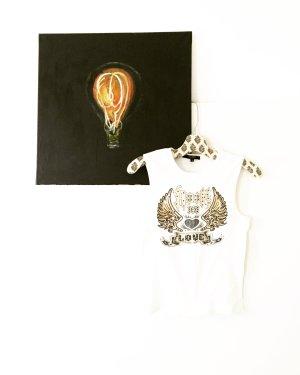 weisses shirt / tank top / vintage / rockstar / gold / boho / hippie / festivallook
