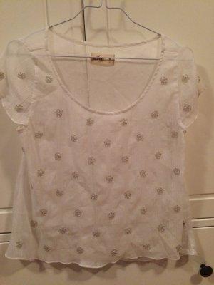 *weißes Shirt von Hollister mit Glitzerapplikationen*