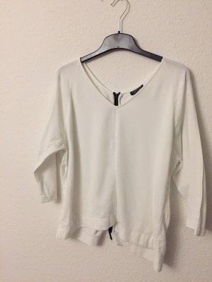 Weißes Shirt von Topshop mit auffälligem Reißverschlussdetail, Gr.44