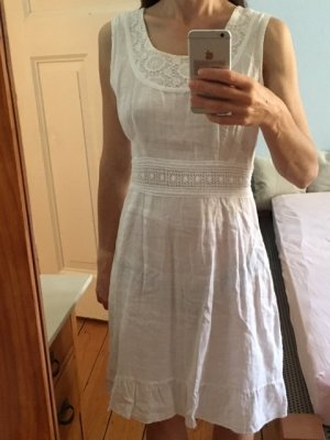 Flounce Dress white linen