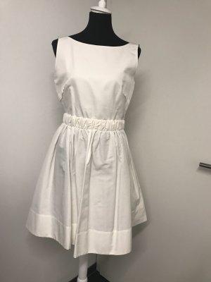 Weißes Sommerkleid Seide mit Schleife