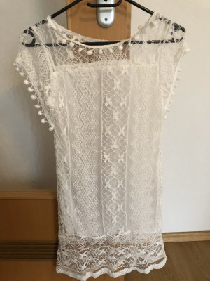 weißes Spitzen Kleid Tunika