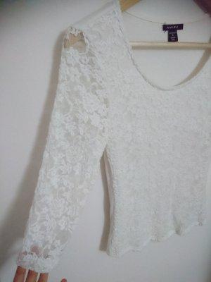Top di merletto bianco-bianco sporco