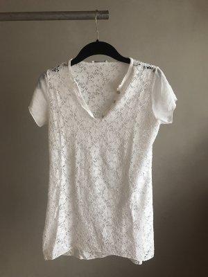 Camisa de ganchillo blanco