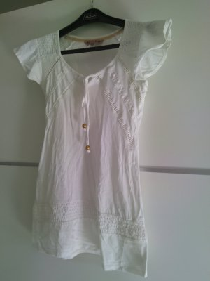 Review Camisa larga blanco-color oro