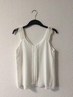 Weißes Spitzenshirts 36
