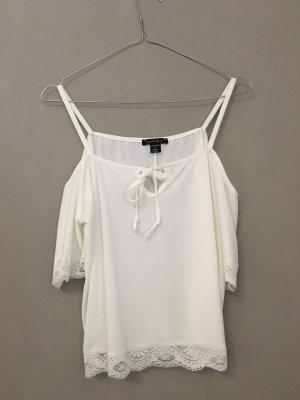 Amisu Top de encaje blanco-blanco puro