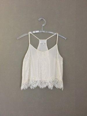 Forever 21 Top di merletto bianco sporco-bianco
