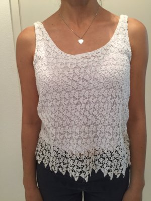 Pull & Bear Lace Top white